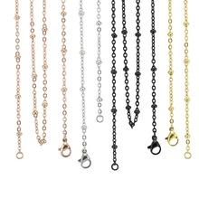 18'' 20'' 24'' 28'' 32'' 3.0mm silver/ gold/ rose gold/black 316 Stainless Steel Ball Station Cable Chain Pendant Necklace