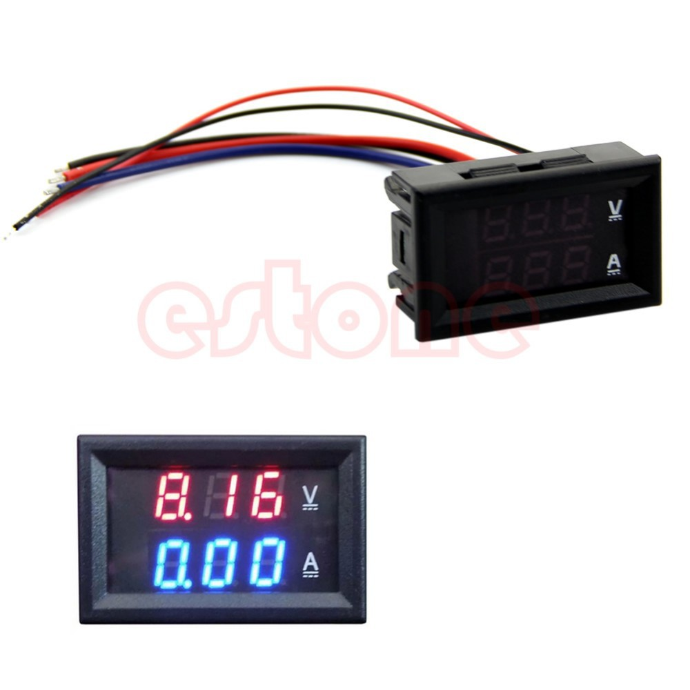 DC 100V 10A Voltmeter Ammeter Blue + Red LED Amp Dual Digital Volt Meter Gauge #L057# new hot