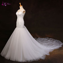 Buy Waulizane Sexy Sweetheart Mermaid Wedding Dresses Appliques Lace Soft Tulle Court Train Illusion Back Spaghetti Strap Bride Gown for $197.05 in AliExpress store