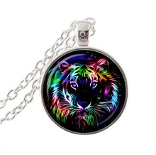 fashion multicolor tiger necklaces rare animal  pendant necklace art  photo glass cabochon necklace gift for men women gifts