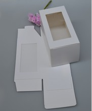 Large white gift cardboard boxes, white paper gift box with clear pvc window packaging,Macaron packing craft box(China)