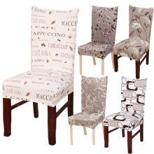 Hyha Floral Letter Dining Chair Cover Spandex Elastic Anti-dirty Slipcovers Protector Stretch Removable Hotel Kitchen Seat Case(China)