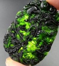 Chinese Natural Black Green yu Carved Lucky Dragon Phoenix Pendants + Rope Necklace Fine Jadee Pendant wholesales