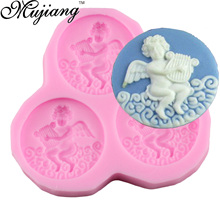 Mujiang Cute Angel Play Music Baking Silicone Chocolate Cookie Mold Fimo Clay Candy Molds Birthday Fondant Cake Decorating Tools(China)