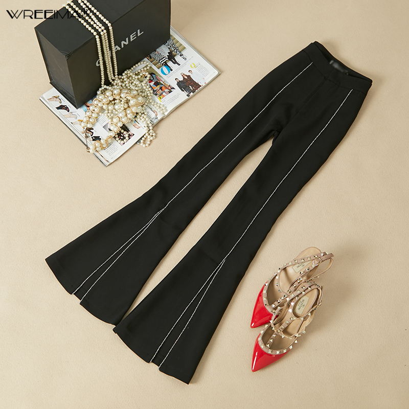 Fashion Womens Office Pants New Designer Ladies Black Wide Leg Pants Womens Slim Casual Suits Pants Trousers 2019 summer