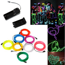 White Flexible Neon Light EL Wire Rope Tube with Controller christmas lights outdoor rgb led strip led lights fita led(China)