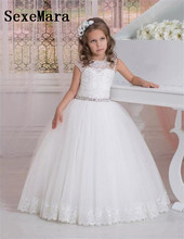 Cap Sleeves Ball Gown Flower Girl Dresses for Wedding Crystals Lace Tulle Jewel Girls Party Gowns Beautiful Communion Dress