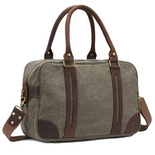 Male Cotton Canvas Leather Menssenger Shoulder Bag Crossbody Traveling Laptop Casual Tote Bag Handbag(China)