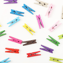 20 PCS Mini Wooden Decorative Color Clip, Wood Clothespin Clips Note Pegs Mixed for Photo Paper Clothes Office Supplies