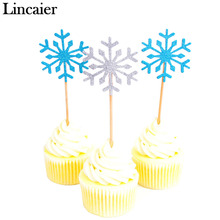 Lincaier 10 Piece Snowflake Cupcake Toppers Baby Girl Frozen Birthday Party Decorations Kids Christmas Cake Supplies Accessories(China)