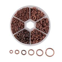1745pcs/box  Mix Sizes  4~10x0.7-1mm Iron Jump Rings for DIY Metal Jewelry Findings Nickel Free Red Copper/ Antique Bronze