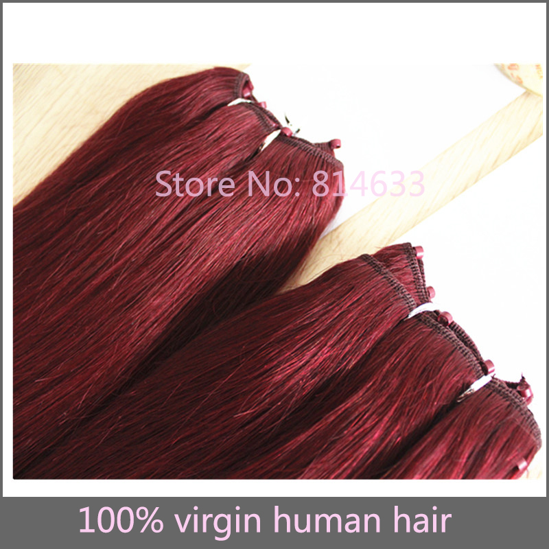 Free Shipping #99j Dark Wine Silky Straight 100% Human Hair Micro Weft Virgin Brazilian Hair Extension 3pcs<br><br>Aliexpress