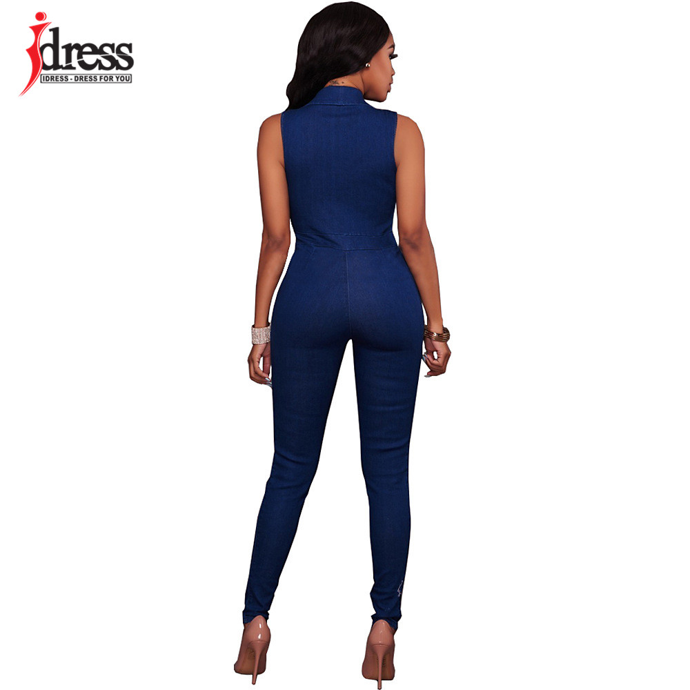 IDress Women Jeans Jumpsuit Denim Long Pants Sexy Deep V Neck Slim Overalls Jumpsuit Girl Sleeveless Club Wear Bodysuit Romper (2)