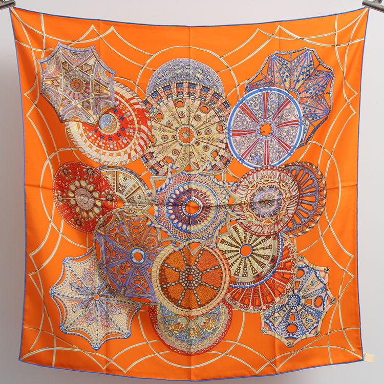 16m/m Twill Silk Scarf Women Luxury Brand 2017 Fashion Orange Square Scarves Handmade Hemming Headwear 90*90cm<br>