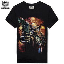 [Rocksir] 2017 new grim Reaper Skull Pursuers Design tshirt homme brand-clothing Men Rock Band T-shirt Short Sleeve tops tee(China)