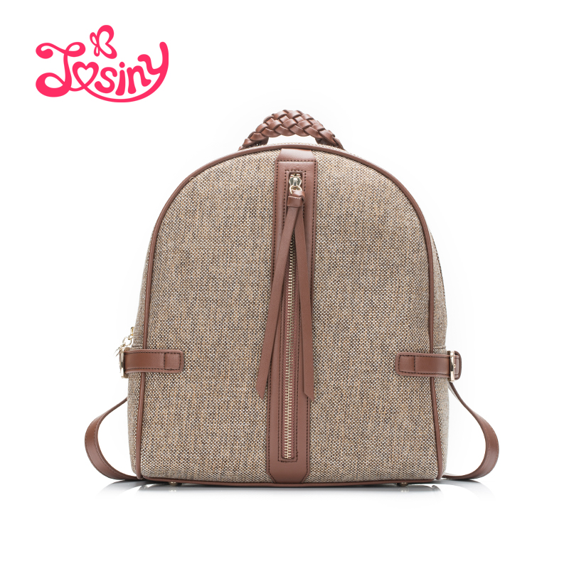 JOSINY Fashion Linen Material Backpack For Women Weave Hand Strap Shoulder Bags Zipper Decoration Bagpack Bags Ladies Female Bag<br><br>Aliexpress