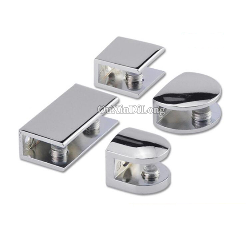 Multi-Choice 10PCS Zinc Alloy Thicken Glass Clamps Clips Holder Brace Shelf Support Brackets Silver Tone<br>