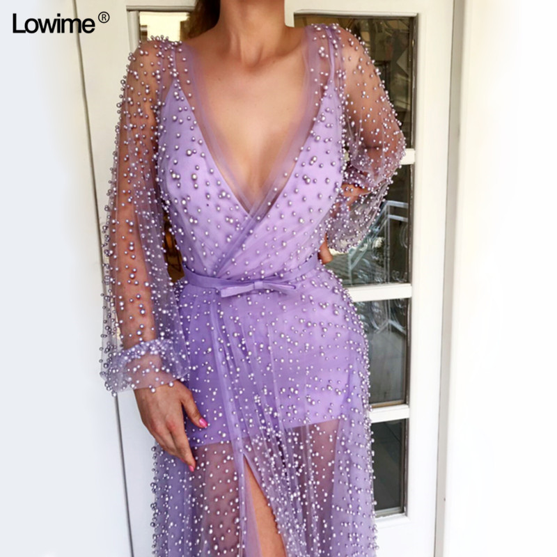 Sexy Illusion A-line V-neck Evening Prom Party Dress robe de soiree Pearls Fabric Evening Gowns Dresses Long Avondjurk (2)