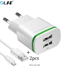 LED Light Micro USB Charger EU 5V 2A 2 Ports Fast Charging Wall Power Adapter For iPhone 5 6 7 s ipad Smasung Xiaomi Accessories(China)