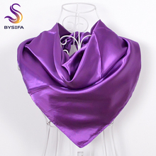 [BYSIFA] Winter Ladies Large Square Scarves Wraps Printed 90*90cm Female Accessories Elegant Purple Silk Headscarves Neck Scarf(China)