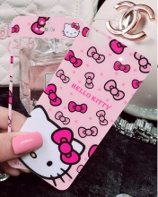 Bling For iphone 7 6 6s plus 5s front and back film Full protect Tempered Glass Screen Protector hello kitty KT cat pink bows(China)