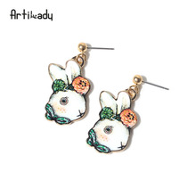 Artilady lovely rabbit dangle earrings enamel animal summer jewelry women's earrings for party gift(China)