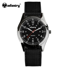 INFANTRY Watch Relogio Military Army Watches Round Face Ultra Thin Nylon Fabric Watch for Men 24 Hrs Display Casual Quartz Watch