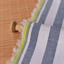 Slub yarn dyed white stripe cotton cloth Navy wind blue sofa towel pillowcase mat skirt fabric cloth hold