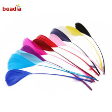 Beadia New Arrival Large feathers head floating A variety of colors beautiful small decoratin for house and garment 10 pcs/lot(China)