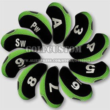 Wholesale 10pcs/set Green with black Neoprene Golf Head Cover Club Iron Head Protector Golf Clubs,designer. OEM/ODM is welcome