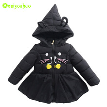 KEAIYOUHUO Baby Girls Jacket 2017 Autumn Winter Girls Jackets For Girls Winter Coats Kids Hooded Outerwear Coat Children Clothes(China)