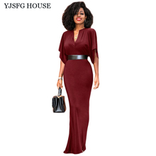 YJSFG HOUSE Vintage V-neck Ladies Office Work Dress Casual Floral Evening Party Dress Women Autumn Slim Long Mermaid Vestidos
