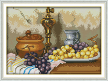 Grapes and clay pots cross stitch kits Cotton 14ct white 11ct print on canvas embroidery set sewing hand made crafts home decor(China)