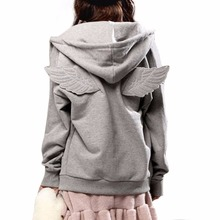 Cute Hoodies wowmity New Autumn Tracksuit Women Hit 3D Angle Wings Hoodies Hooded Causal Full sleeve Fleece Plus size M-2XL