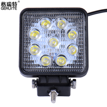 GERUITE Brand 27W High-Power 9X 3W Square LED Work Light Spot Beam 4x4 Offroad ATV Truck Tractor Motorcycle Driving Fog Lights(China)