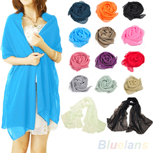 2016 New Spring Large Long Chiffon Feel Fashion Neck Head Scarf Scarves Women Fashion