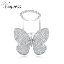 VOGUESS Lovely Ladies Butterfly Ring White Gold Color Crystal Rings For Women With Top Quality Zircon Stone New Year Gifts