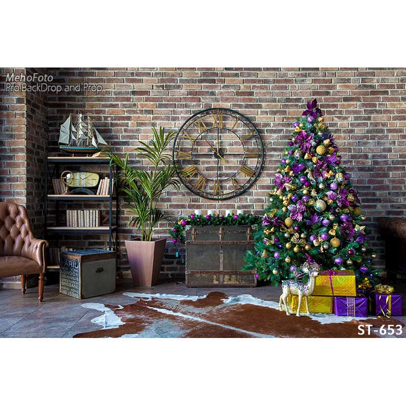 Horizontal vinyl print Xmas decoration brick wall room photography backdrops for photo studio portrait backgrounds ST-653<br>