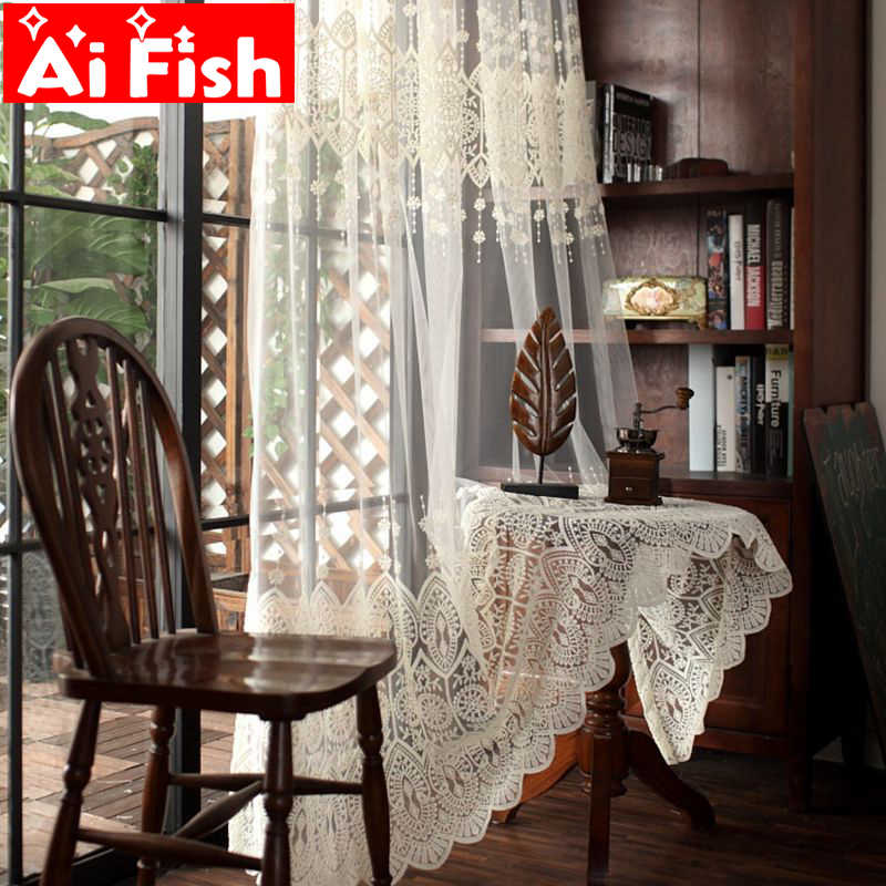 Milk Silk Custom Beige Embroidery Window Treatments Tulle For Living Room Curtains For Bedoom Bay Window Sheer Panels P022-40