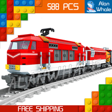 588pcs Train Creator Classical Cargo Trains Red Locomotive 25807 Model Building Blocks Bricks Railway Toys Compatible With lego(China)