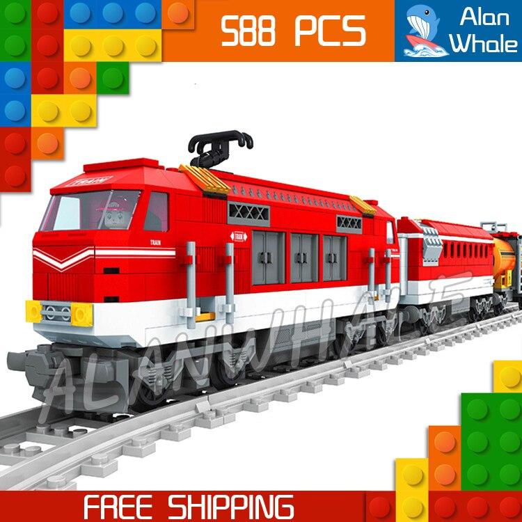 588pcs Train Creator Classical Cargo Trains Red Locomotive 25807 Model Building Blocks Bricks Railway Toys Compatible With lego<br>