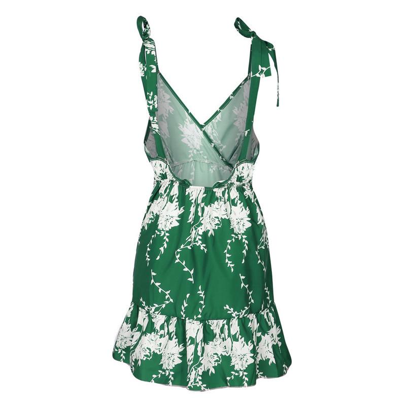 Hirsionsan Short Bohemian Dress 2017 Summer Women Sundress Sexy V-neck Floral Print Boho Dress Backless Green Beach Sundress 11