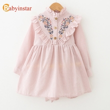 Buy Babyinstar Flower Girl Dresses 2017 New Autumn Ruffles Kids Dresses Girls Embroidery Striped Children's Princess Party Dress for $8.99 in AliExpress store