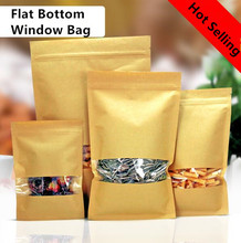 Free Shipping 100pcs/lot Transparent PVC Window Ziplock Bag Flat Bottom Food Packaging Bag