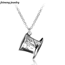 free shipping Alice In Wonderland Hat Low Mad Hatter Hat Silver Pendant Necklace High Quality collars Necklace
