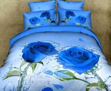 Newest!3d bedding set,3pcs bed set in a bag,1xDuvet cover,2xPillowcase Queen,King,Twin Full Queen Blue Rose valentine's gift
