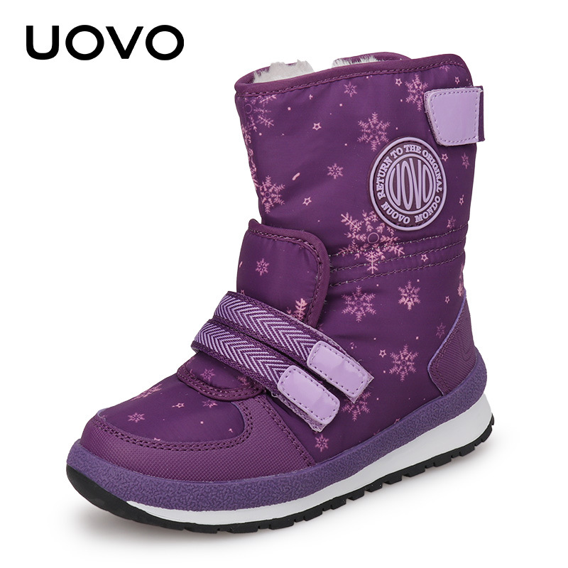 UOVO Kids Snow Boots with Snow Flake Thin Fur Lined Hook Loop Fastners Children Winter Boots Side Zipper Boys Girl Botas Booties<br>