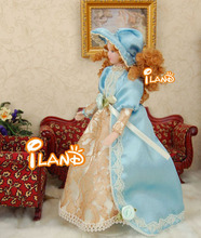 "6.7"" Porcelain doll model 1:12 dollhouse miniature Vitoria Blue hat Lady"