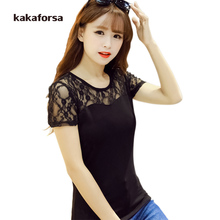 Kakaforsa Summer Women Lace T-shirt Fashion Hollow Out Short Sleeve Cotton T shirts Female O-Neck Solid Tees Tops