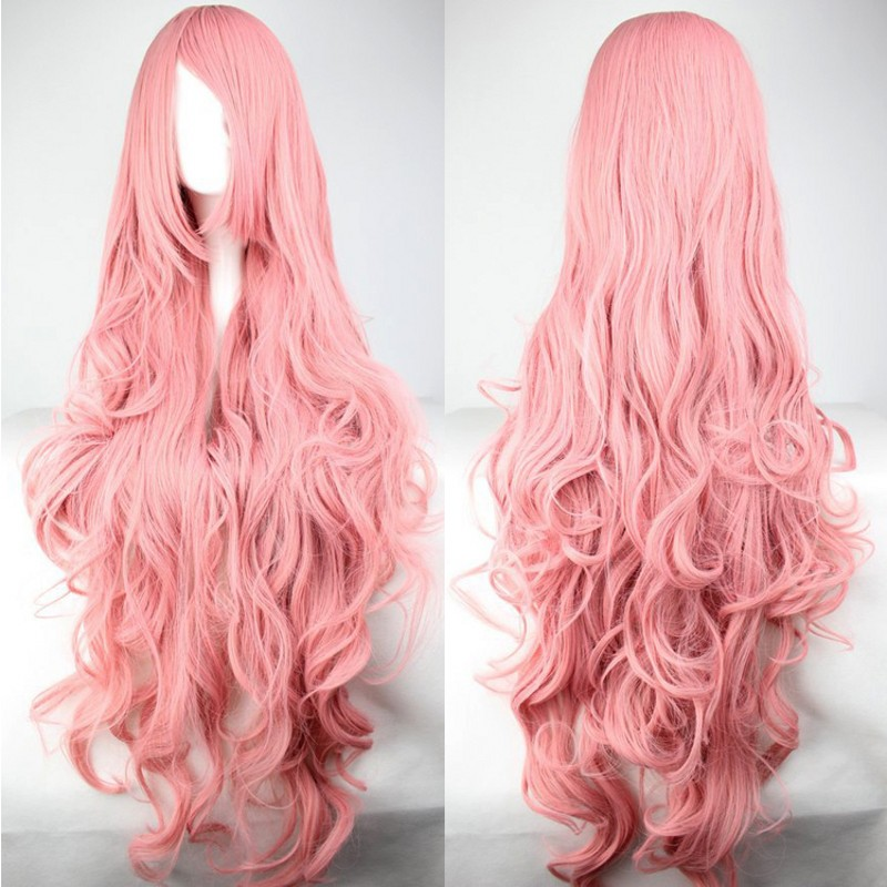 Pink Color Wigs 100cm Synthetic Hair Long Curly Cosplay Wig Harajuku Anime Natural Wig Fashion Sexy Women Hair<br><br>Aliexpress